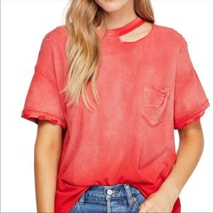 MWT Free People Lucky Distressed Pocket T-Shirt
